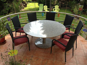 gartentisch terrassentisch naturstein edelstahl d 130cm esstisch rund granit neu ebay. Black Bedroom Furniture Sets. Home Design Ideas