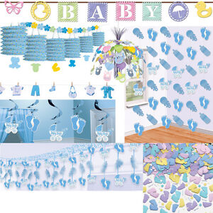 Geburt junge dekoration baby shower party deko blau for Baby shower party deko