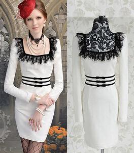 White Bodycon Dress on Black Eyelash Lace Crewneck Bodycon Party Club White Dress 9750   Ebay