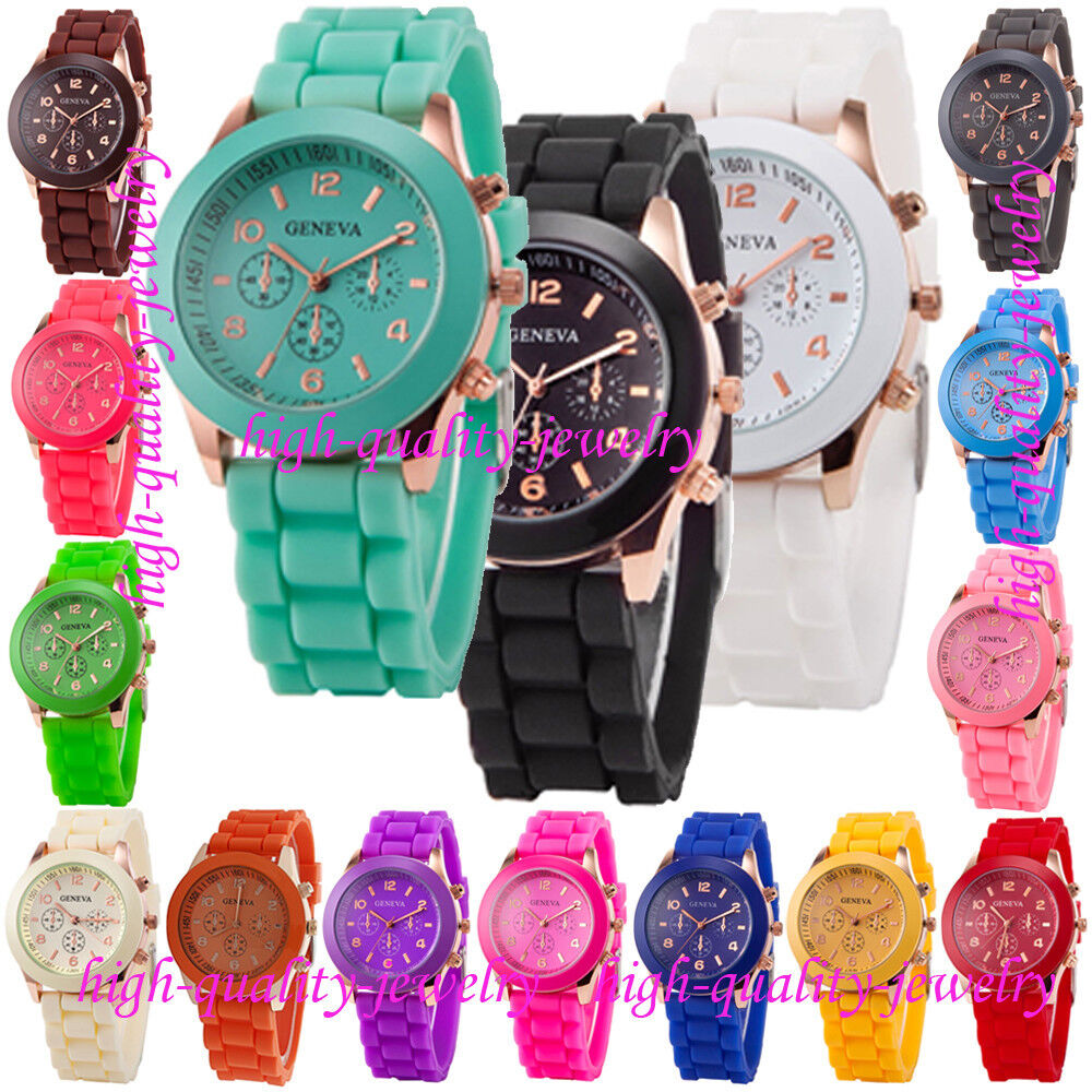 Geneva Silicone Golden Quartz Men/Boy/Lady/Women/Girl Jelly Wrist Watch Popular