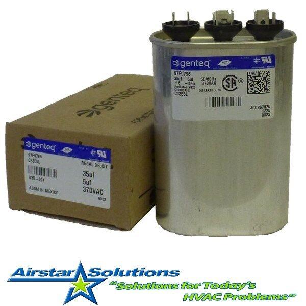Dual motor oval run capacitor 35 5 uf mfd 370 vac ebay for 370 volt 10 mfd motor run oval capacitor