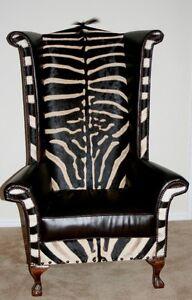 Genuine Burchell Zebra Hide Leather Wingback Chair