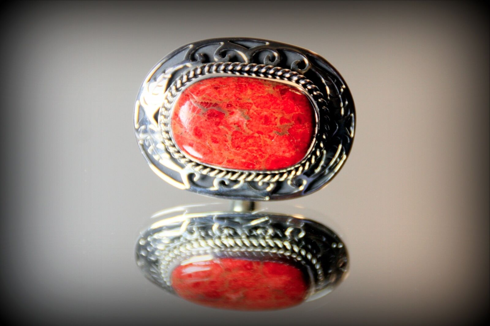 Huge genuine red coral custom inlay 950 solid silver ring for Z s fine jewelry