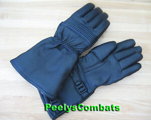 Military Gloves on Dutch Military Motorcycle Black Leather Gauntlets Gloves New   Ebay