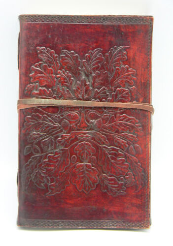 "Genuine leather embossed handmade Greenman journal 6 x 8"" in Collectibles, Religion & Spirituality, Wicca & Paganism 