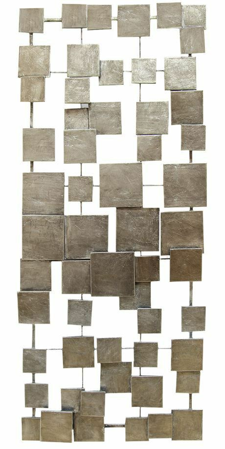 Geometric Metal Wall Decor : Geometric silver abstract tile metal wall sculpture art