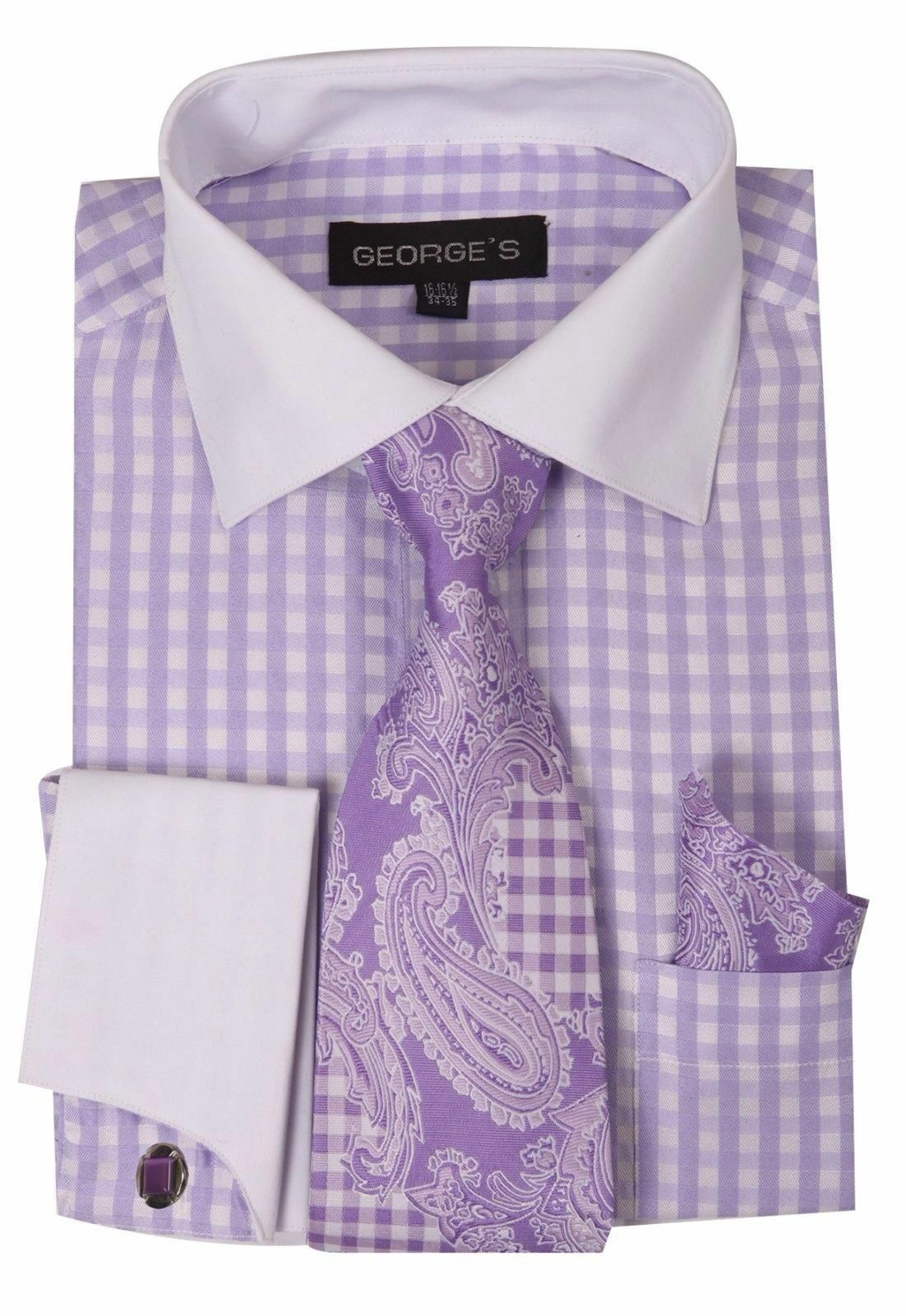 Checker French Cuff Dress Shirt With Cuff Links Paisley