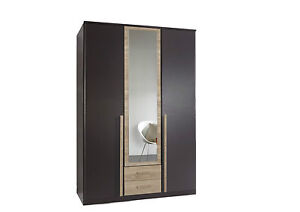 German-3-Door-Lava-Charcoal-Grey-Oak-Mirror-Wardrobe-with-Drawers