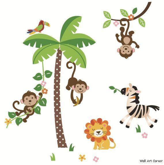 Giant Jungle Monkeys Palm Tree Lion Zebra Wall Sticker Decals for Kids Room
