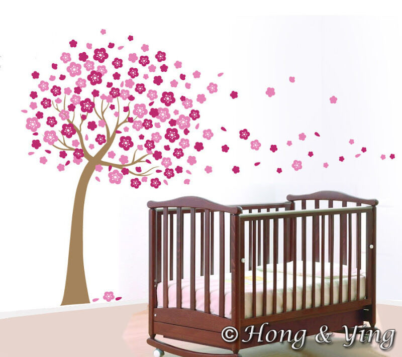 Giant Pink Cherry Blossom Flowers Tree Wall Stickers Art Mural Nursery Wallpaper