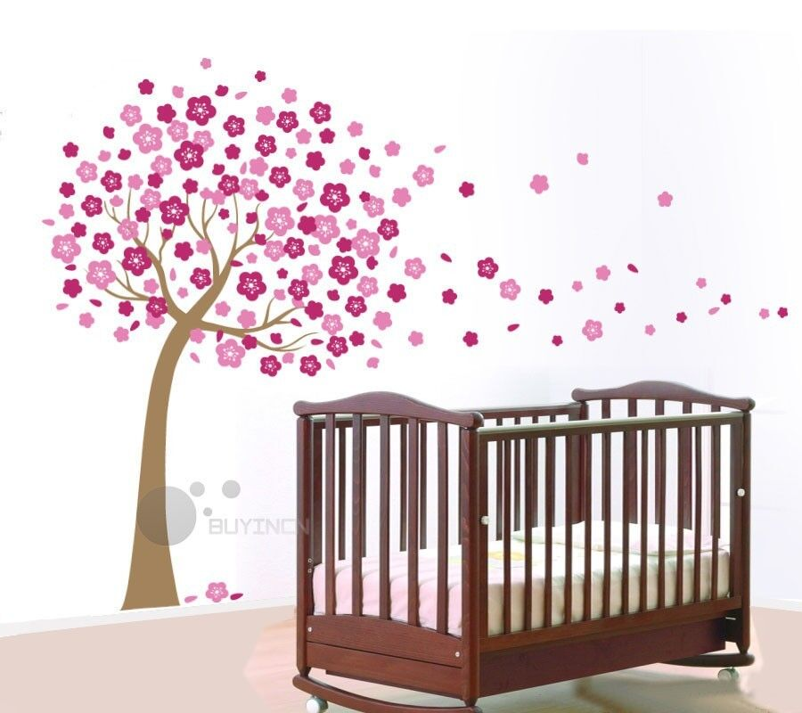 Flower murual nursery 2017 grasscloth wallpaper for Cherry blossom tree mural