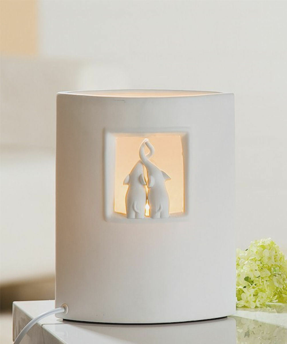 gilde porzellan deko lampe weiss motiv katzen elefant oder eule zur auswahl ebay. Black Bedroom Furniture Sets. Home Design Ideas