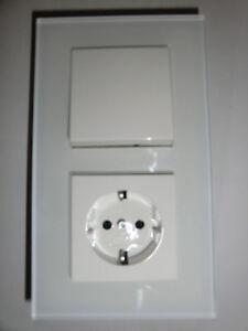 gira system 55 steckdose klein glasrahmen wei schalter ebay. Black Bedroom Furniture Sets. Home Design Ideas