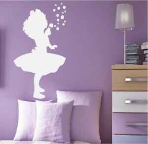 Kids Nursery Bedding Room on Girl Blowing Bubbles Kids Room Nursery Wall Decal Decor   Ebay