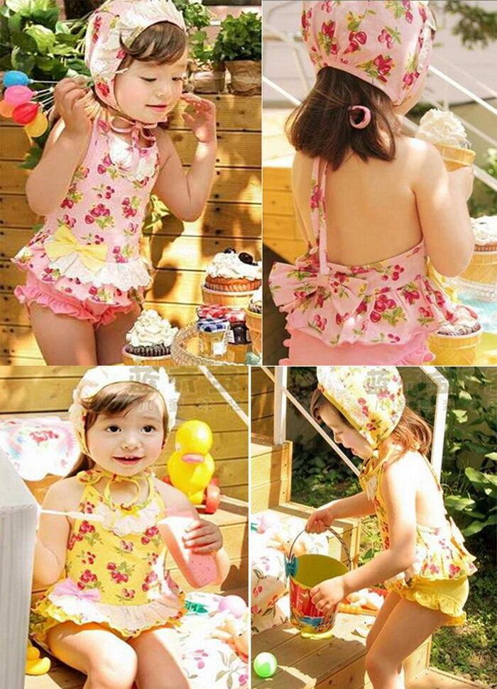 Girls Baby Cherry Blossoms Tankini Bikini Swimsuit Swimwear Swimming Costume 1 6