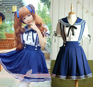 Girls-Blau-School-Maid-Costume-Cosplay-Kostuem-Student-Uniform-Sailor-Dress-Neu