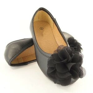 Girl 039 s Dress Ballet Flats Lace Bow Black Size 9 4 Toddlers Kids ...