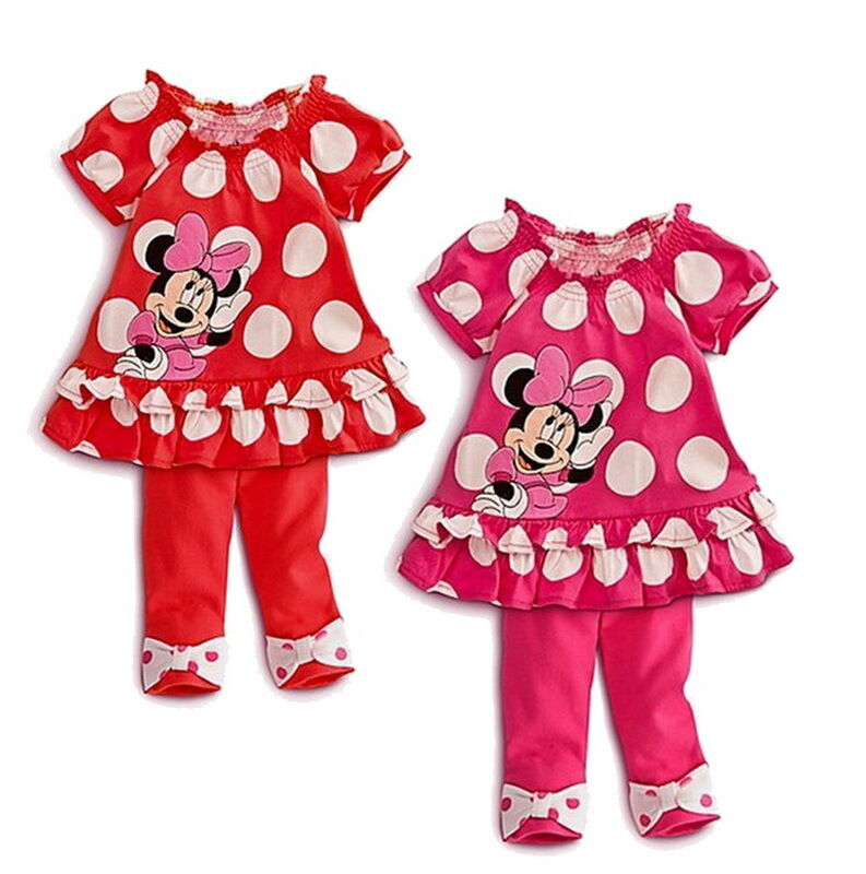 Girls Minnie Mouse Clothes Baby Top Dress Pants Legging Set 6M 3Y Summer Outfit