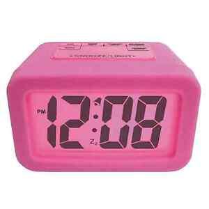 girls silicone digital alarm clock large led display bedroom clocks pink new on popscreen. Black Bedroom Furniture Sets. Home Design Ideas