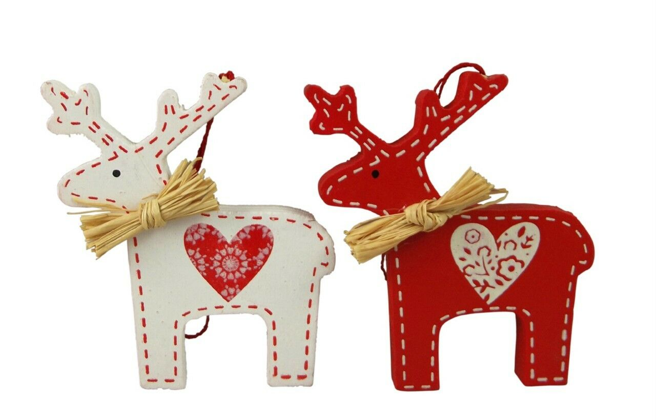 Gisela graham christmas set of 2 scandi reindeers wooden for Christmas reindeer decorations