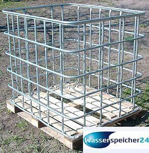 gitterbox 1m auf holzpalette zur lagerung von brennholz. Black Bedroom Furniture Sets. Home Design Ideas