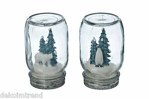 glas dekoglas eisb r pinguin weihnachten winter kunstschnee deko kunstharz set ebay. Black Bedroom Furniture Sets. Home Design Ideas