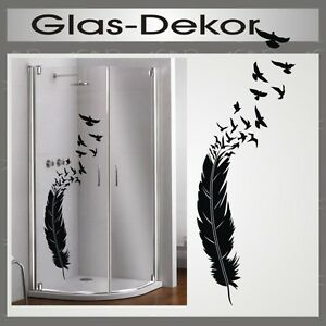 glas dekor aufkleber fenster dusche bad tattoo feder v gel. Black Bedroom Furniture Sets. Home Design Ideas