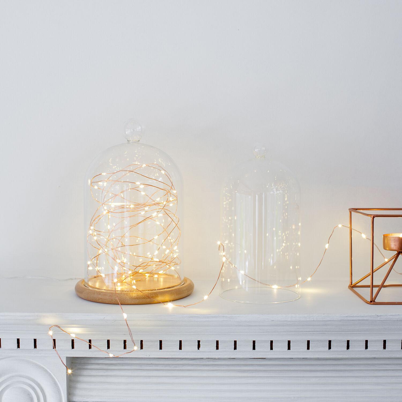 Glasglocke 50er LED Micro Lichterkette Kupfer Draht Glaskuppel Deko ...
