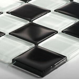 Glasmosaik fliesen schwarz weiss schachbrett 48x48x8mm - Fliesen schachbrett ...