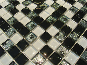 glasmosaik mosaik fliesen klarglas 8mm schwarz weiss silber grau effekt bad ebay. Black Bedroom Furniture Sets. Home Design Ideas