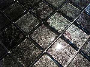 glasmosaik mosaik fliesen klarglas metall silber purple schwarz bad pool dusche ebay. Black Bedroom Furniture Sets. Home Design Ideas