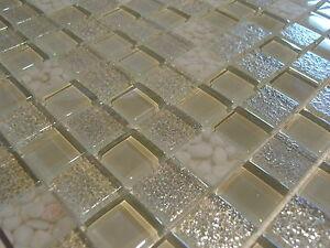 glasmosaik mosaik fliesen klarglas perlmutt metall effekt weiss kunstharz ebay. Black Bedroom Furniture Sets. Home Design Ideas