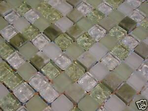 glasmosaik naturstein marmor fliesen gr n glas mosaik bad pool dusche 1 matte ebay. Black Bedroom Furniture Sets. Home Design Ideas