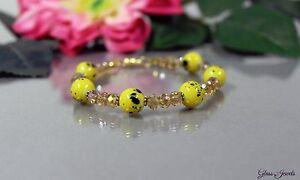 Glass-Jewels-Gold-Armband-Perlen-Gelb-Dunkelgelb-Laenge-20-cm-H007