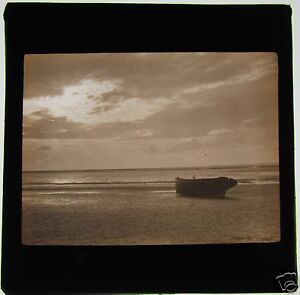 Glass-Magic-lantern-slide-A-BOAT-BY-THE-SEA-C1900