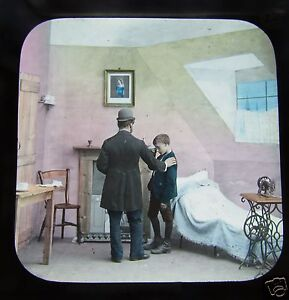 Glass-Magic-lantern-slide-A-FRIEND-IN-NEED-NO12-C1890-VICTORIAN-SOCIAL-HISTORY