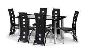 Glass-dining-table-and-6-faux-leather-chairs-clear-and-black-glass