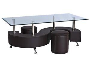 glastisch kunstleder couchtisch beistelltisch tisch braun mit hocker dunkelbraun ebay. Black Bedroom Furniture Sets. Home Design Ideas