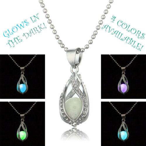 Glow in Dark Pendant Necklace The Little Mermaid's Teardrop Womens Jewelry Gift