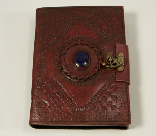 Gods eye stone Embossed Leather Blank Journal Diary 5 x 7 Hand Made Paper Lock in Books, Accessories, Blank Diaries & Journals | eBay