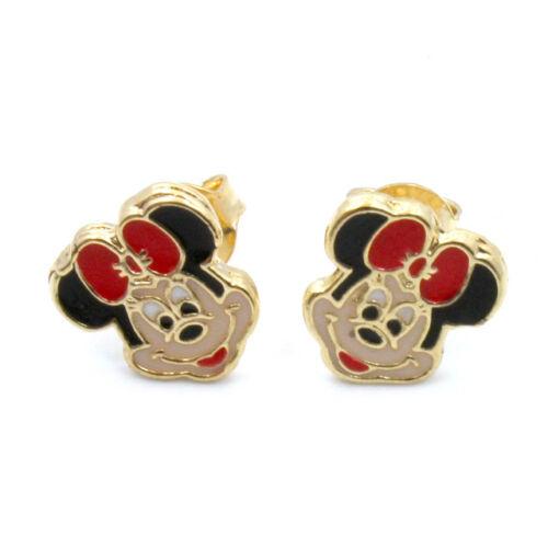 Gold 18k GF Earrings Enamel Minnie Mickey Girl Baby Kids Infants Push Back Stud in Jewelry & Watches, Children's Jewelry, Earrings | eBay