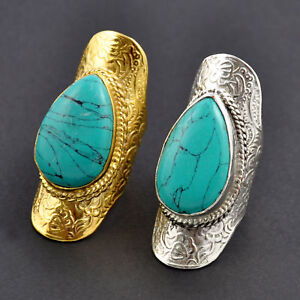 Gold ARMOUR Turquoise Stone Tribal Ring, Pattern, Egyption ...