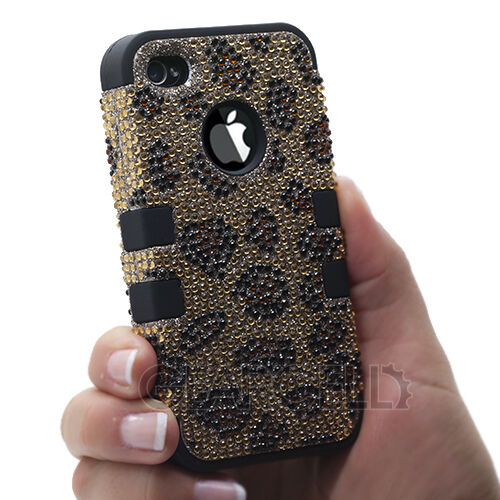 Gold/Black Hard Leopard Rhinestone Bling Tuff Case For Apple iPhone 4 4S 4G USA in Cell Phones & Accessories, Cell Phone Accessories, Cases, Covers & Skins | eBay