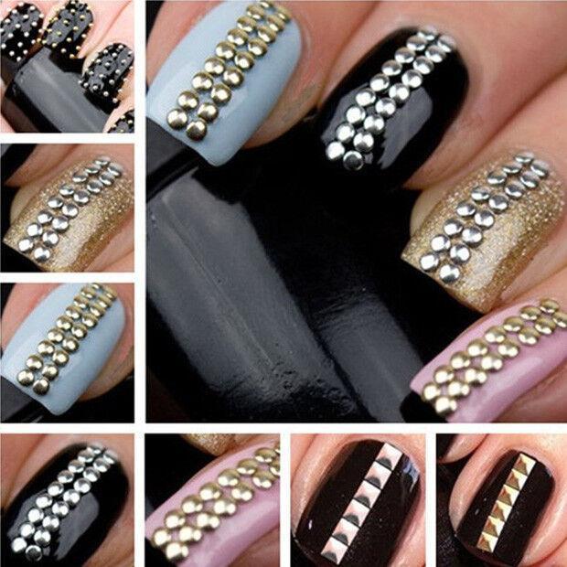 Gold Silver 1000pcs Stud Nail ART 3D Design Decoration Stickers Studs ...