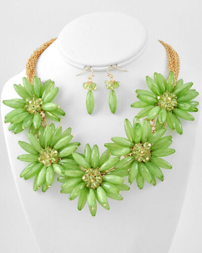 Gold Tone Lime Green Large Chunky Flowers Statement Necklace and Earrings Set in Jewelry & Watches, Fashion Jewelry, Necklaces & Pendants | eBay