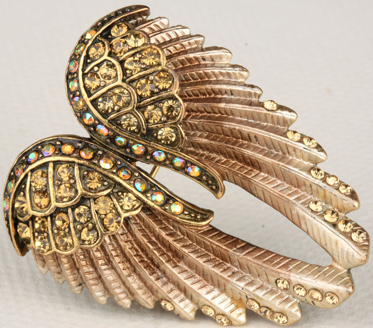 Gold Brown Crystal Angel Wing Pin Pendant BD03 Matching Ring Earrings