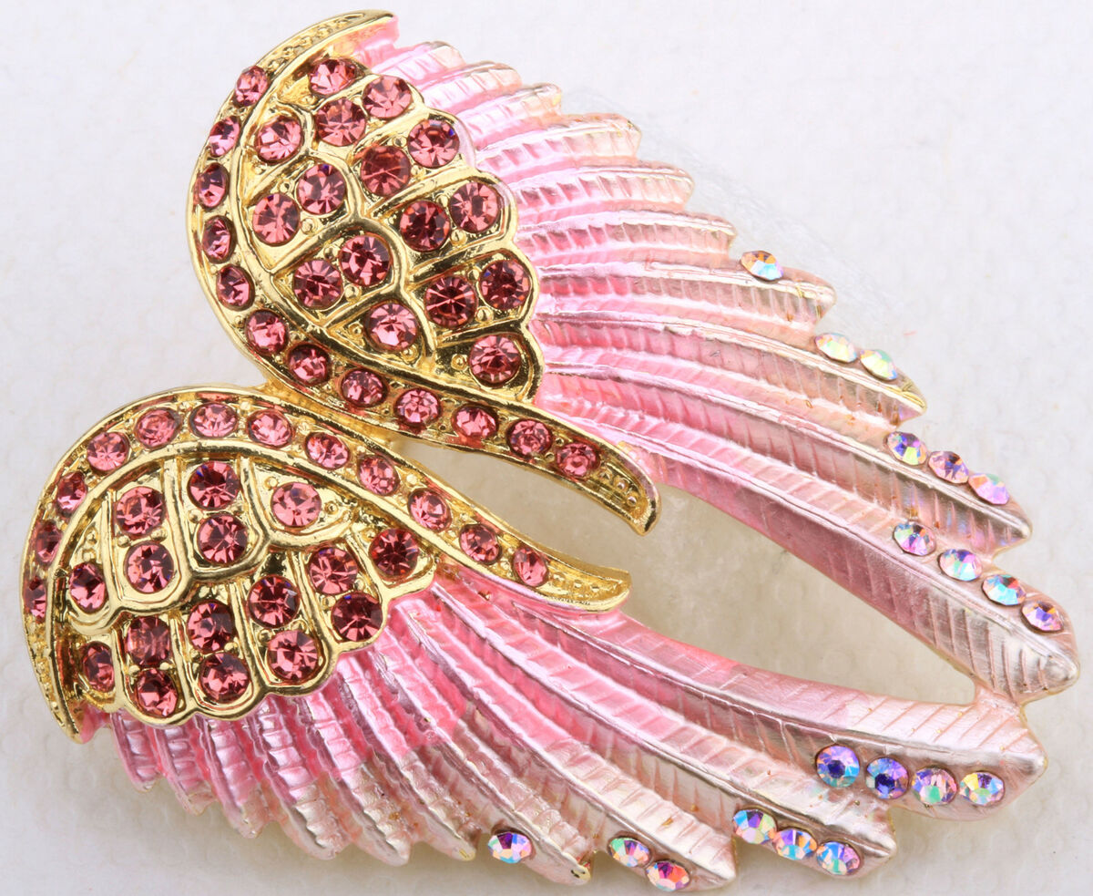 Gold Pink Crystal Angel Wing Pin Pendant BD03 Matching Ring Earrings