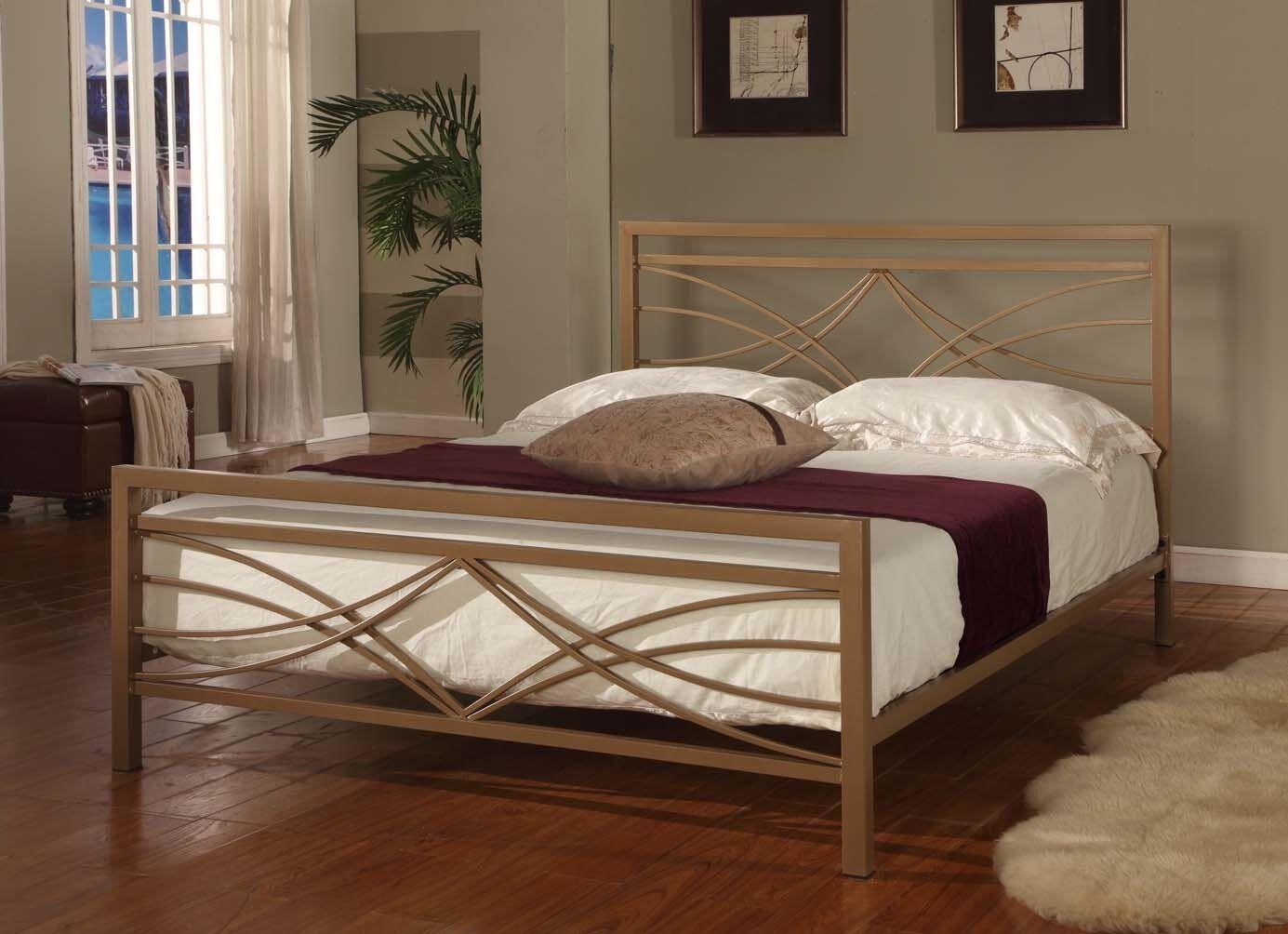 golden finish full size bed headboard footboard rails metal slats new ebay. Black Bedroom Furniture Sets. Home Design Ideas