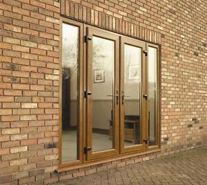 Golden oak woodgrain upvc french doors window new for Made to measure upvc french doors