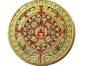 goldene medaille m 252 nze color farbig kalender azteken